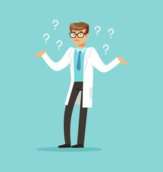 thoughtful doctor character having many questions vector image vector image