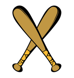 two crossed baseball bats icon icon cartoon vector image