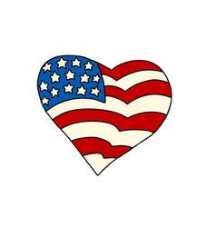 usa heart patriotic symbol vector image vector image
