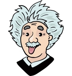 Albert Einstein portrait with tongue out vector