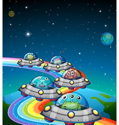 Aliens flying in the ufo vector