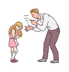 Angry father yelling at girl child vector