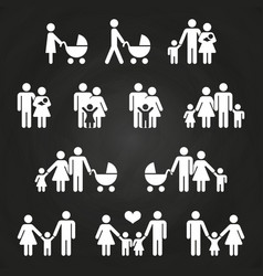 Baand parents outline icons design - white vector