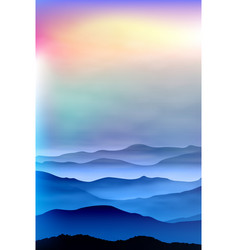 Background with mountains in fog sunset time vector