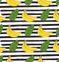 Banana hand drawn sketch striped Seamless Pattern vector