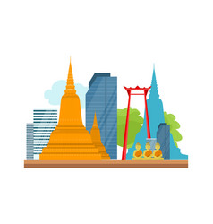 Bangkok detailed banner symbols of thailand vector