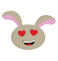 beige rabbit with red heart shaped eyes smiling vector image