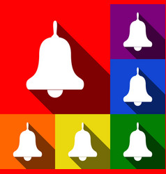 bell alarm handbell sign set of icons vector image