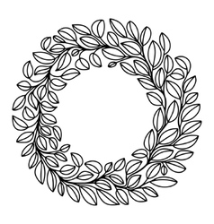 black and white stylized drawing of laurel wreath vector image