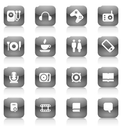 Black buttons for music vector image