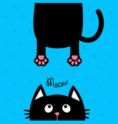 black cat looking up funny face head silhouette vector image
