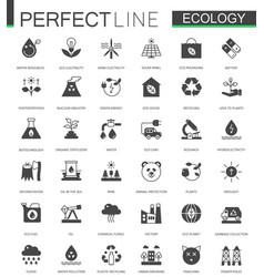 black classic green ecology web icons set vector image