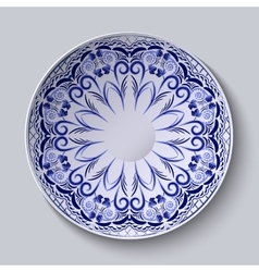 Blue floral pattern on a round plate Stylization vector