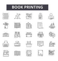 Book printing line icons for web and mobile design vector