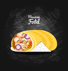 burrito mexican traditional food vector image