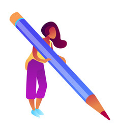 businesswoman holding big pencil and writing vector image