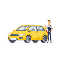 car service - modern cartoon character vector image