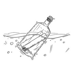 Cartoon drawing of message in bottle floating in vector