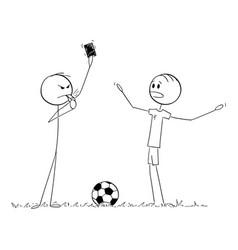cartoon serious football or soccer referee vector image