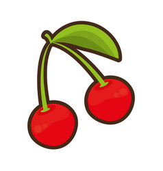 Cherry fruit healthy icon vector