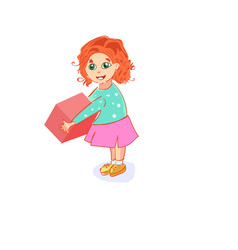 child girl playing with block toys on white vector image