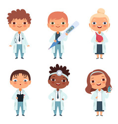 Children in the doctor profession in the various vector