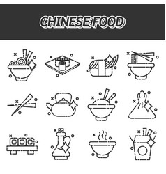 Chinese food concept icons vector