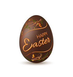 Chocolate easter egg 3d icon brown egg lettering vector
