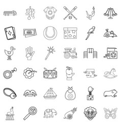 Clown icons set outline style vector