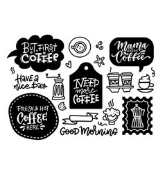 coffee related labels badges and doodle design vector image