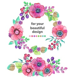 Colorful floral card with leaves and flowers vector