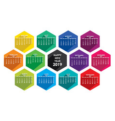 colorful new year calender 2019 design vector image
