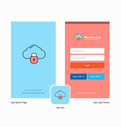 company locked cloud splash screen and login page vector image