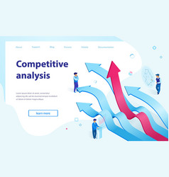 Competitive analysis isometric webpage vector