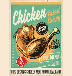 crispy fried chicken legs retro restaurant menu de vector image