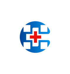 cross hospital sign logo vector image