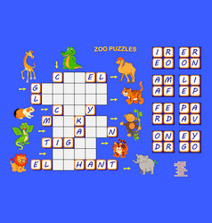 Crossword puzzle for children with animals logic vector