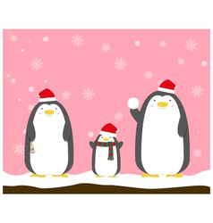 cute big fat penguin family wear christmas hat vector image