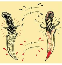 Daggers oldskool Tattoo style vector