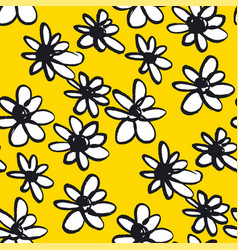 daisy hand drawn seamless color pattern vector image