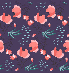 dark pattern with pink poppy flowers and leaves vector image