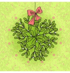 Design card twig of mistletoe and bow vector