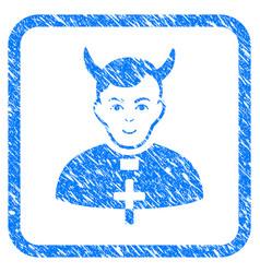 devil priest framed stamp vector image