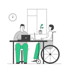 Disabled young woman in wheelchair working vector