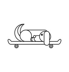 Dog sitting on a skateboard vector