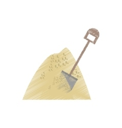 drawing mining mineral sand pile shovel vector image