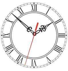 Elegant clock face with roman numerals figured vector