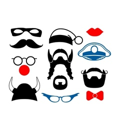 False mustache funny glasses and other items for vector image