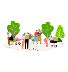 family walking in park vector image