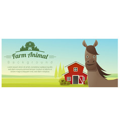 farm animal and rural landscape with horse vector image